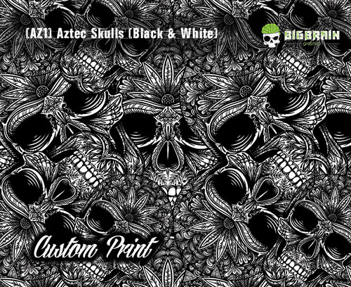 Aztec Skulls Skull Floral (AZ1) Indian Headdress Custom Printed Print Hydrographic Hydrographics Film Big Brain Graphics