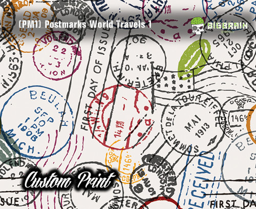 Postmarked World Travels Traveller Postage Stamped (PM1) Custom Printed Film Custom Hydrographic Film Pattern Big Brain Graphics Sell Custom Film