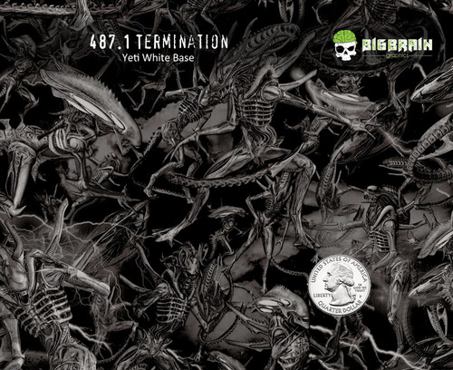 Termination Terminator Alien UFO Hydrographics Pattern Big Brain Graphics Hydrographics Pattern USA Seller Yeti White Base Quarter Reference
