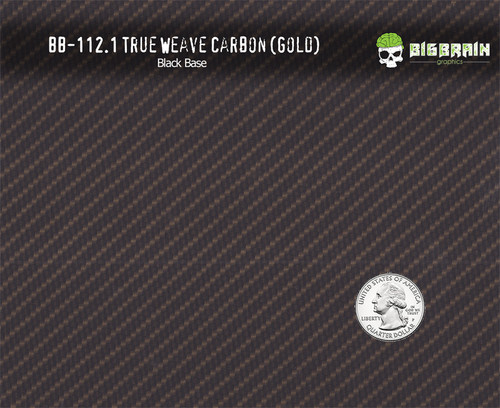 True Weave Gold Metallic Detailed Carbon Fiber Hydrographics Pattern Film Big Brain Graphics Black Base Quarter Reference