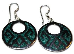 Mexican Alpaca Green Aztec Earrings