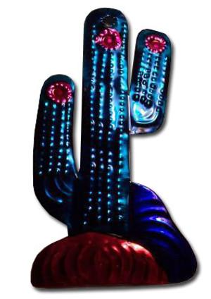 Mexican Tin Christmas Ornament - Cactus Saguaro