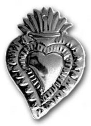 Mexican Tin Christmas Ornament - Heart 2
