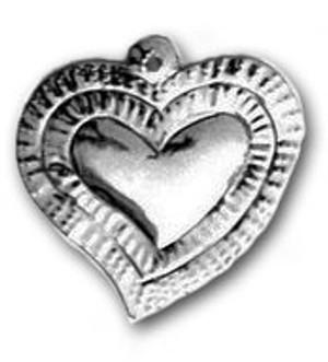 Mexican Tin Christmas Ornament - Heart 3
