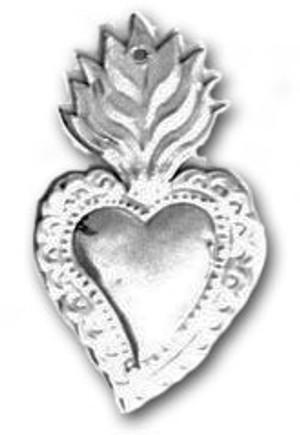 Mexican Tin Christmas Ornament - Heart 5