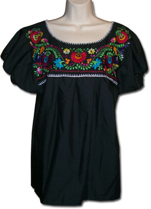 Mexican Embroidered Blouse Black M