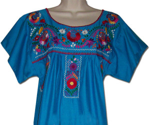 Mexican Puebla Embroidered Blouse Turquoise 3X