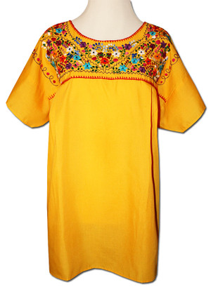 Mexican Puebla Embroidered Blouse Yellow 4XL