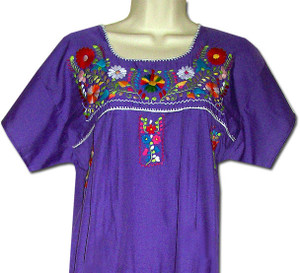 Mexican Puebla Embroidered Blouse Purple 4XL