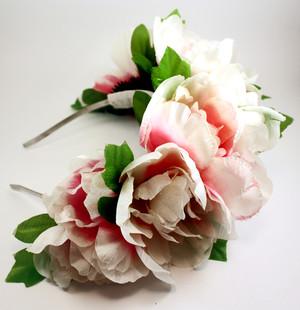 Ivory Frida Kahlo Flower Crown Mexican Wedding Headpiece