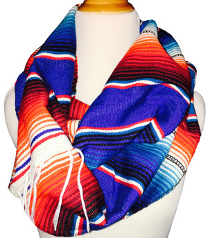 Mexican Blanket Serape Infinity Scarf Wrap