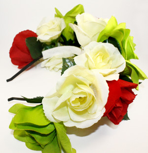 Mexican Red White Green Rose Flower Crown Wedding Floral Headband