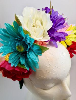 Mexican Rainbow Flower Crown Wedding Headband