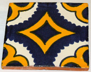 Mexican Talavera Tile - Blue Gold