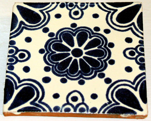 Mexican Talavera Tile - Blue Design