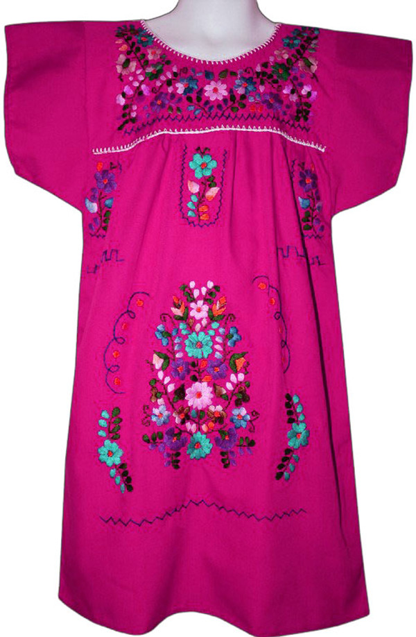 Mexican Fiesta Embroidered Dress Pink Size 4