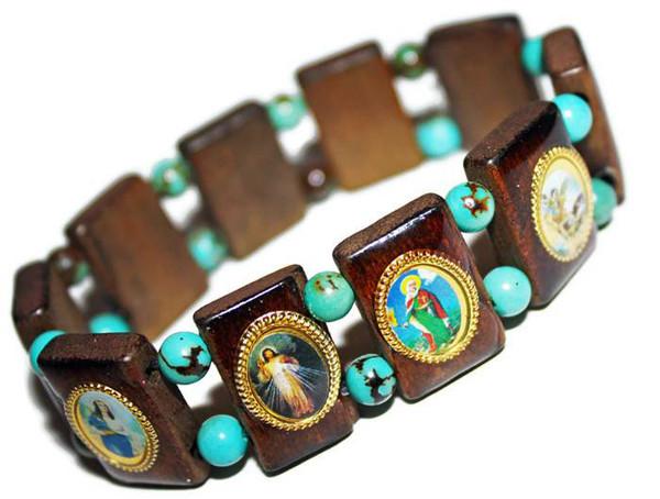 Mexican Catholic Saints Turquoise Bead Bracelet