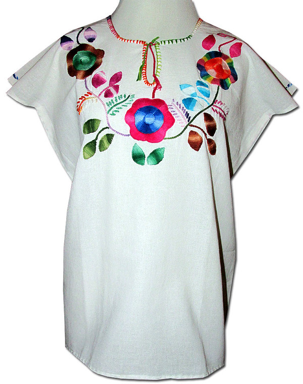 Embroidered Oaxacan Peasant Floral Huipil Blouse M/L