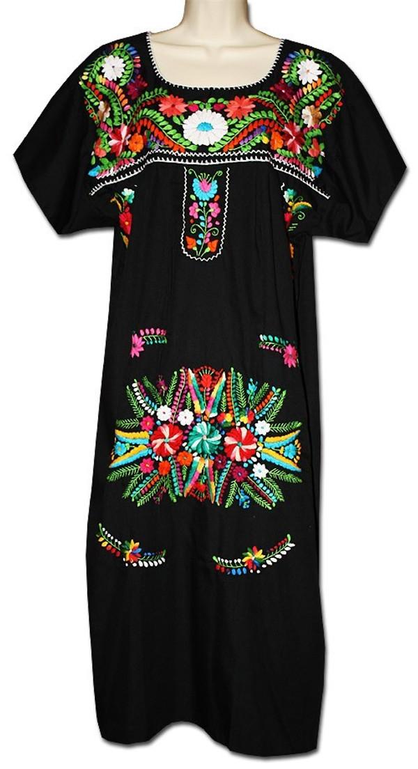 Black Mexican Embroidered Puebla Dress L