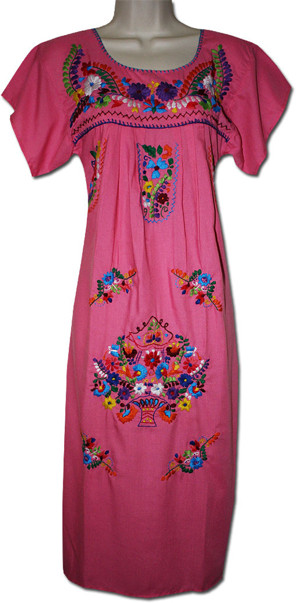 Pink Mexican Embroidered Puebla Dress XL