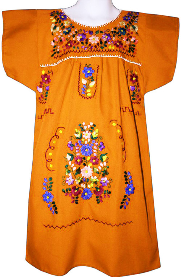 Mexican Fiesta Embroidered Dress Orange Size 10