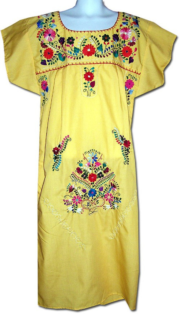 Mexican Fiesta Embroidered Dress Light Yellow Size 3