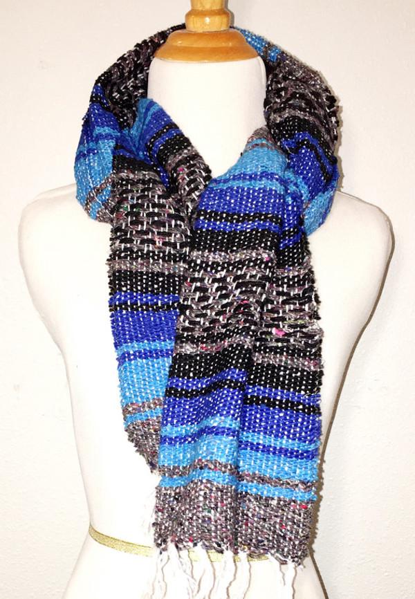 Mexican Blanket Serape Scarf - Blue Black Grey