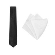 Tie + Pocket Square Set, Paisley, Black/White