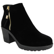 Ladies Black Suede Chunky Zip Tassle Cleated Ankle Boots Shoes