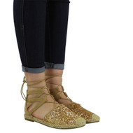 """""""Mandy"""" Gold Glitter Low Flat Heel Ankle Lace Up Shoes"""