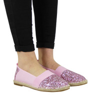 """BARBARA"" Pink Glitter Flat Slip On Ballerina Espadrilles Shoes"