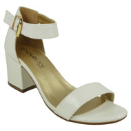 """ANSLEY"" White Ankle Strap Chunky Low Block Heel Shoes"