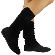 """KAYLA"" Black Mid Calf Pull On Knee Long Boots"