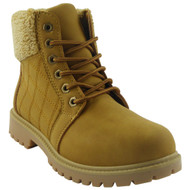 """""""ENOLA"""" Honey Lace Up Quilted Grip Ankle Fleece Boots"""