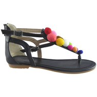 ''MAGIC'' Black T-Bar Fur POM POM Sandals