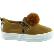 """JACEY"" Tan New Pom Pom Zip Pumps Shoes"