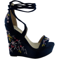 """UNICE"" Blue Platform Wedge Shoes"