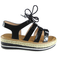"""KAIPO"" Black Espadrilles Wedge Sandals"
