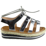 """KAIPO"" Silver Espadrilles Wedge Sandals"