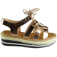 """KAIPO"" Champagne Espadrilles Wedge Sandals"