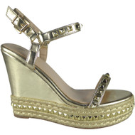 """ABIGAIL"" Gold Studded Ankle Strap Wedge Sandals"