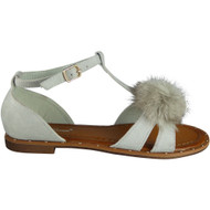 """MIA"" Grey T-Bar Pom Pom Studs Sandals"