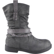 """NICOLE"" Grey Studs Strappy Biker Ankle Boots"