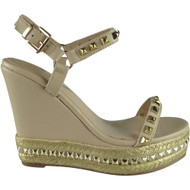 """ABIGAIL"" Nude Studded Ankle Strap Wedge Sandals"