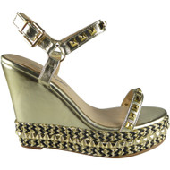 """GINNY"" Gold/Black Studded Ankle Strap Wedge Sandals"