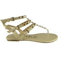"""TONKS"" Nude Studded Strappy Gladiator Sandals"
