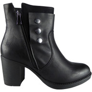 """CHLOE"" Black Zip Office Work Casual Ankle Boots"