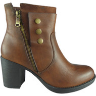 """CHLOE"" Camel Zip Office Work Casual Ankle Boots"