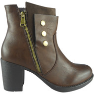 """CHLOE""Brown Zip Office Work Casual Ankle Boots"