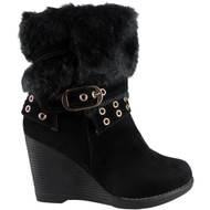 """DANA"" Black Fur Lining Buckle Ankle Boots"